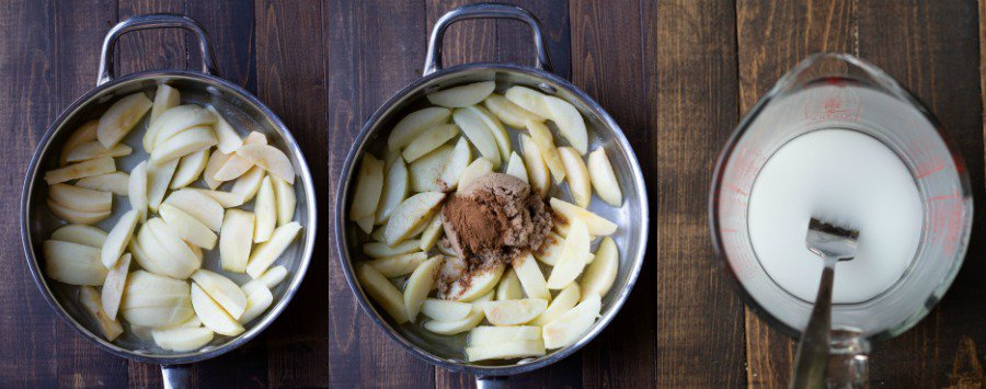 Apples in a skillet topped with brown sugar and spices