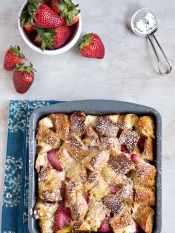 Overnight Strawberry Cream Cheese French Toast Casserole Recipe