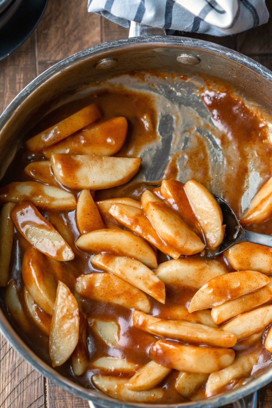 Cinnamon apples in a silver skillet