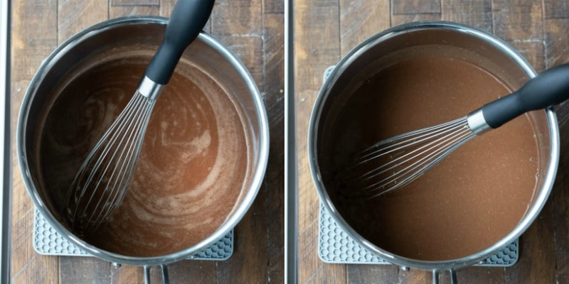 Melted butter and cocoa powder in a saucepan