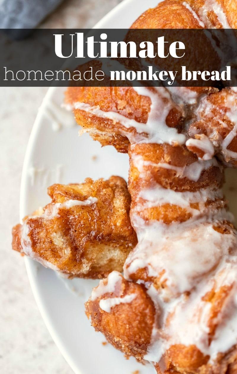 Easy monkey bread recipe that starts with a simple homemade dough.  #monkeybread #homemade #recipe #breakfast #dessert #cinnamonsugar