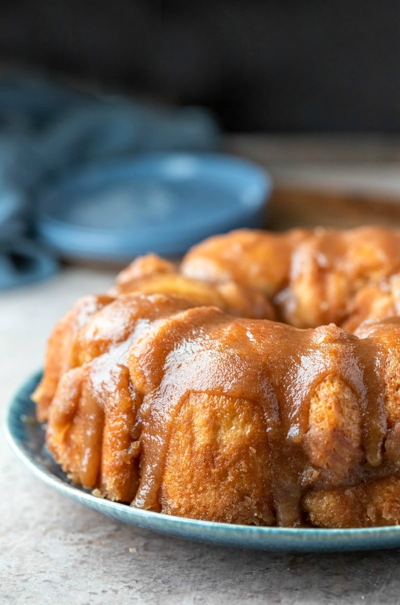 Monkey bread on a blue plate