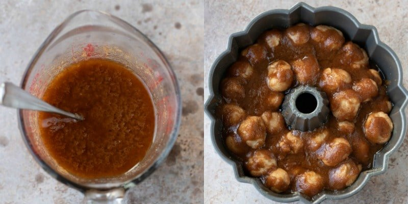 Monkey bread with brown sugar and butter on it