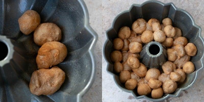 Monkey bread dough in a bundt pan