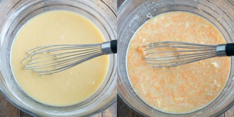 Carrot zucchini muffin batter in a glass mixing bowl