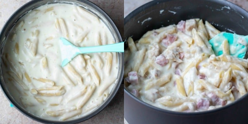 Cooked pasta in cheese sauce