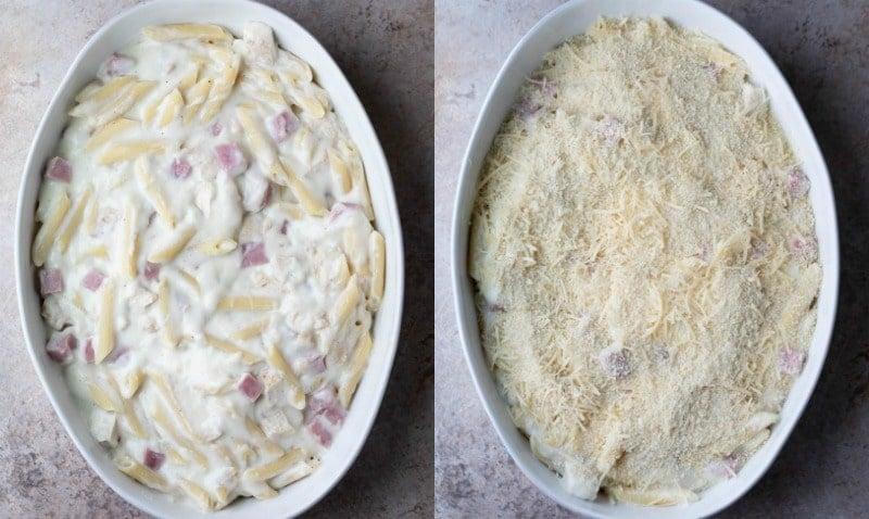 Chicken cordon bleu casserole in a white baking dish