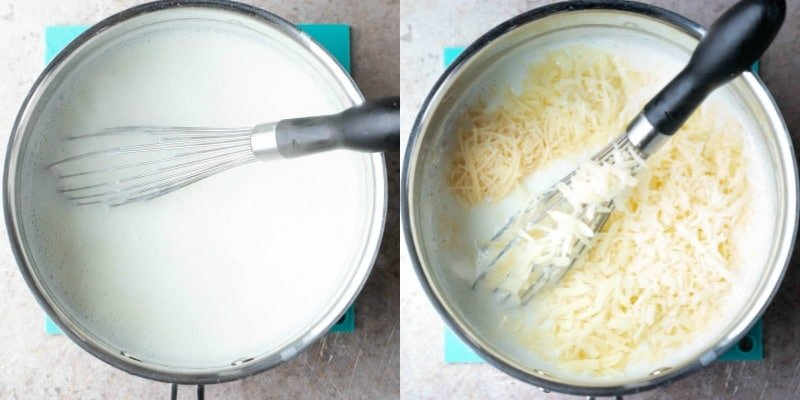 Thickened milk and cheese in a silver saucepan
