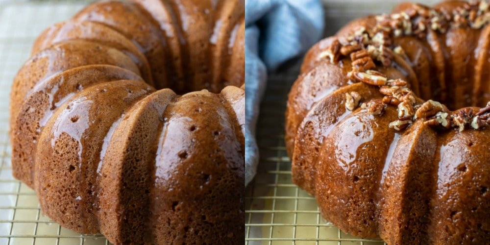 Irish cream bundt cake topped with glaze