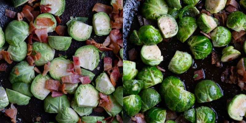 Brussels sprouts and bacon in a cast iron dish