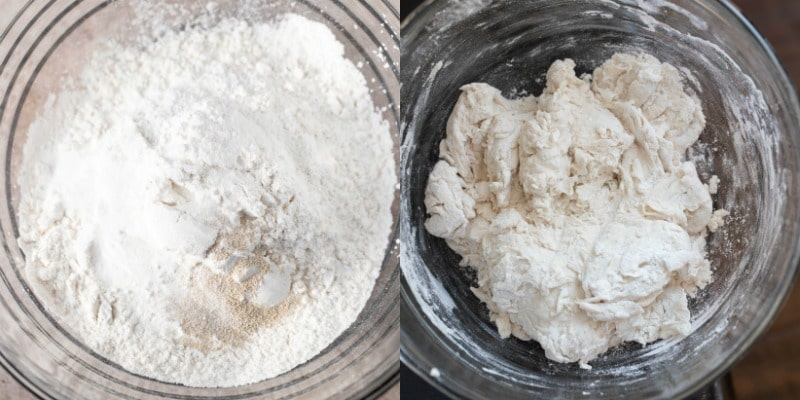 Flour yeast and salt in a glass mixing bowl