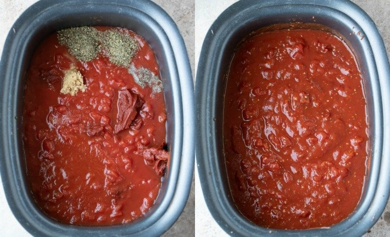 Sauce ingredients in a slow cooker insert