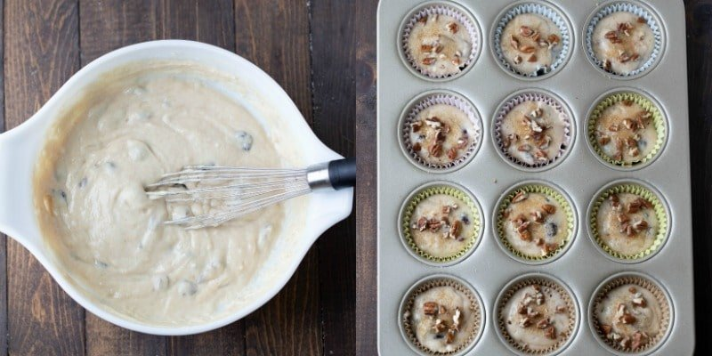 Yogurt muffin batter in a muffin tin