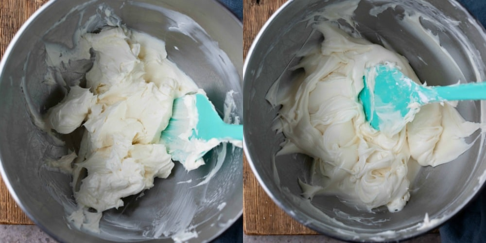 cream cheese frosting in a silver mixing bowl