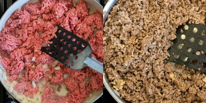Ground beef in a silver skillet
