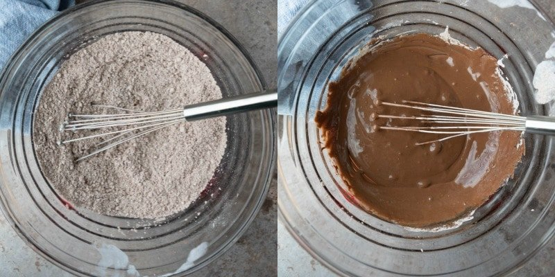 Cocoa powder and powdered sugar in a glass mixing bowl