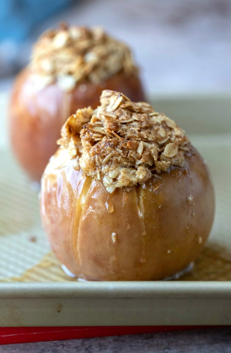 Baked apples in a metal baking pan