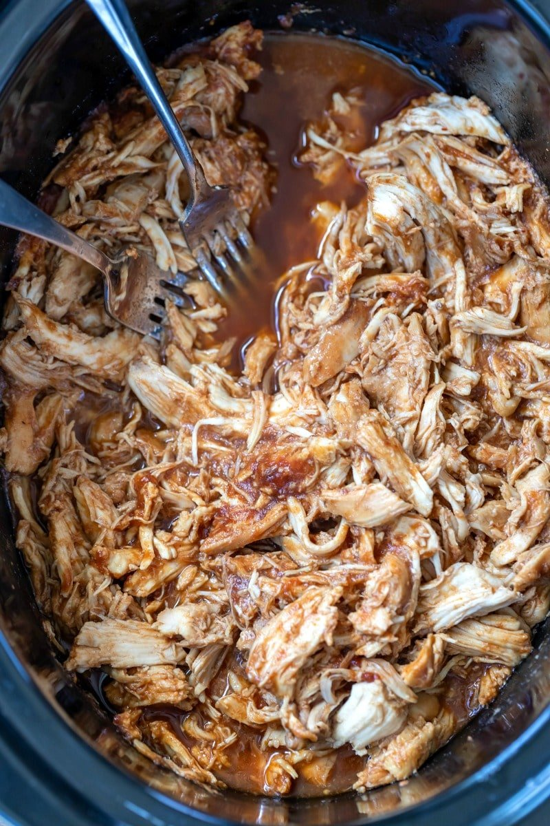 Shredded bbq chicken in a crock pot insert