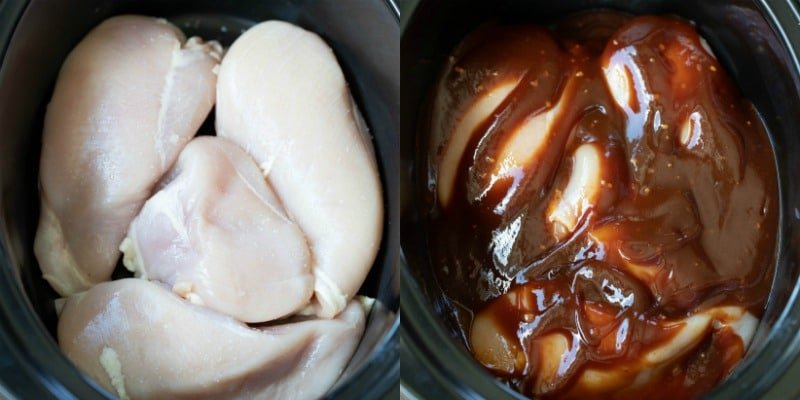Chicken breast in a slow cooker insert