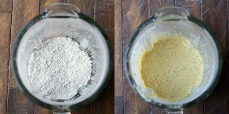 Oatmeal pancake batter in a blender