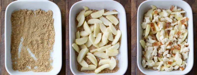 Brown sugar and apple slices in a white dish for apple brown betty