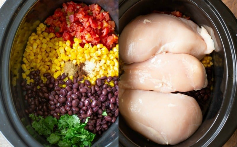 Crock pot Mexican chicken ingredients in a black crock pot insert