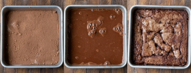 Hot fudge pudding cake batter in a square metal baking pan