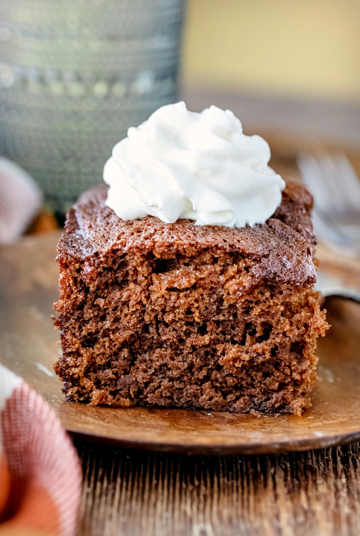 slice of gingerbread topped with whipped cream