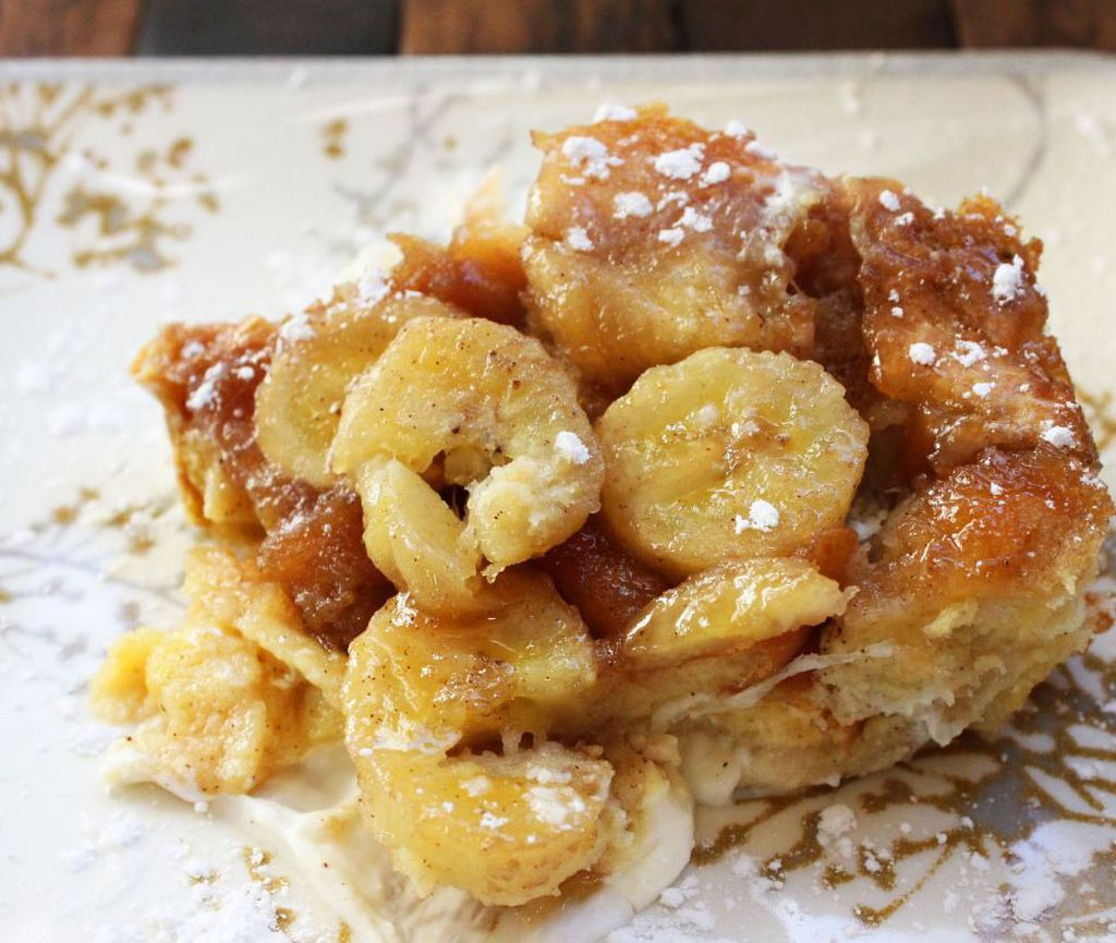 Bananas Fosters Topped Overnight French Toast Recipe — Dishmaps
