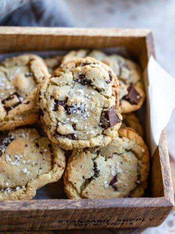 Stack of Salted Chocolate Chip Cookies