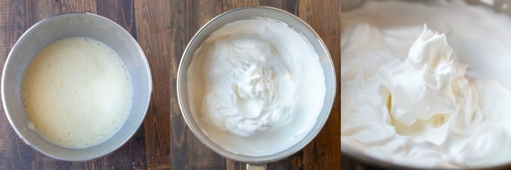 Whipped egg whites for chiffon cake