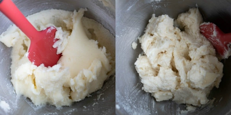 Butter and sugar in a silver mixing bowl