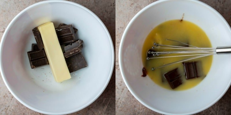 Butter and baking chocolate in a white bowl
