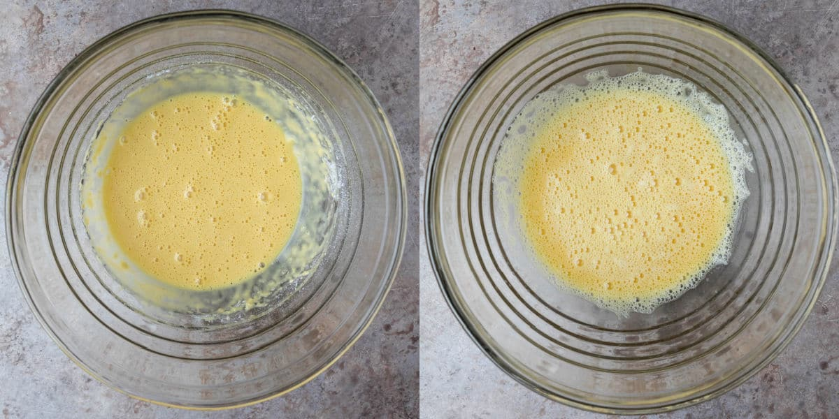 Beaten eggs in a glass mixing bowl