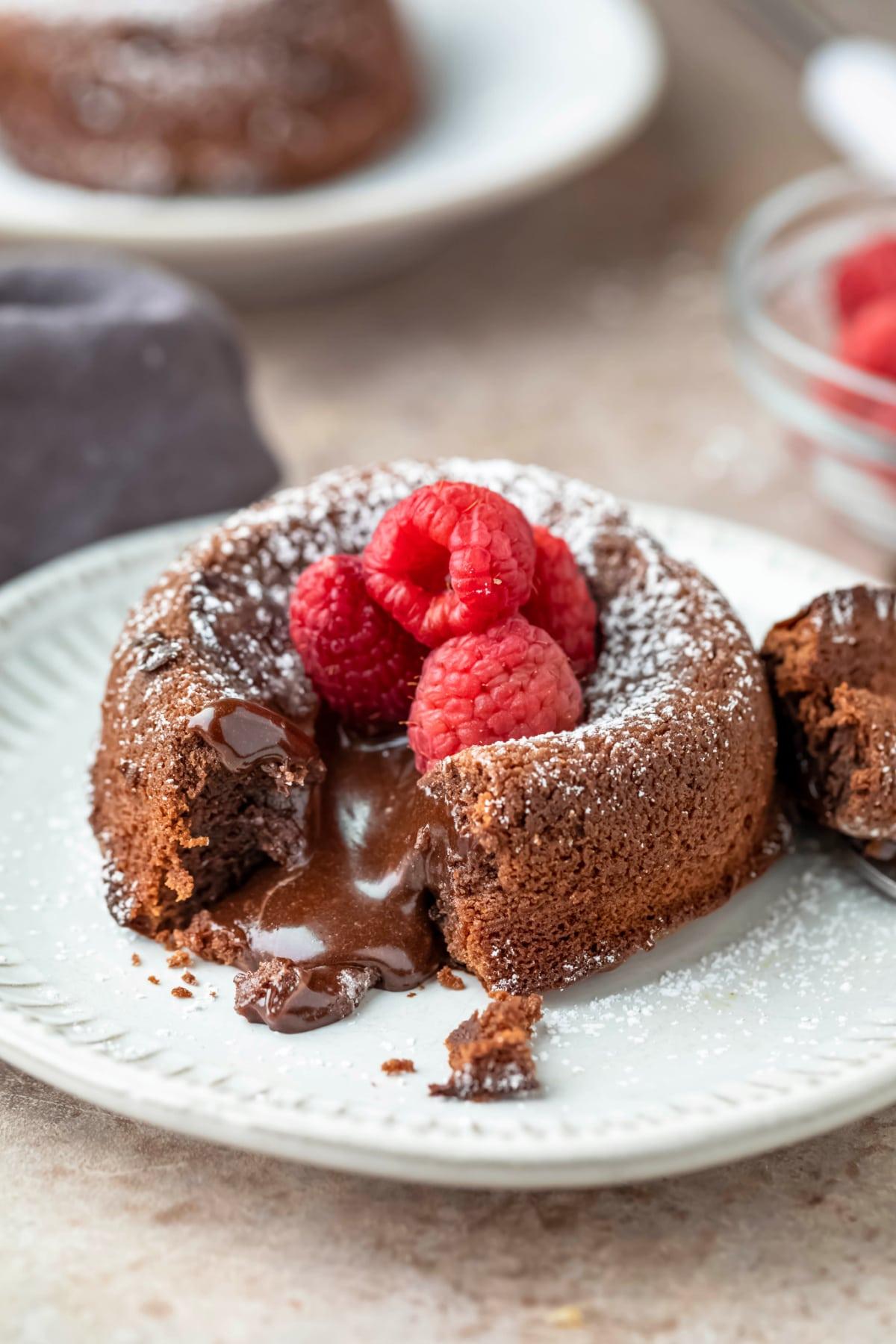 Molten nutella cake on a cream plate