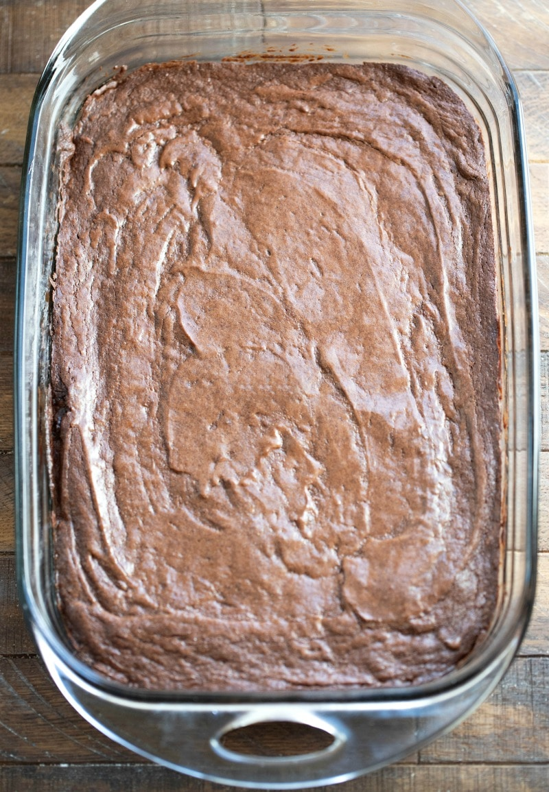 Glass pan of fudgy brownies
