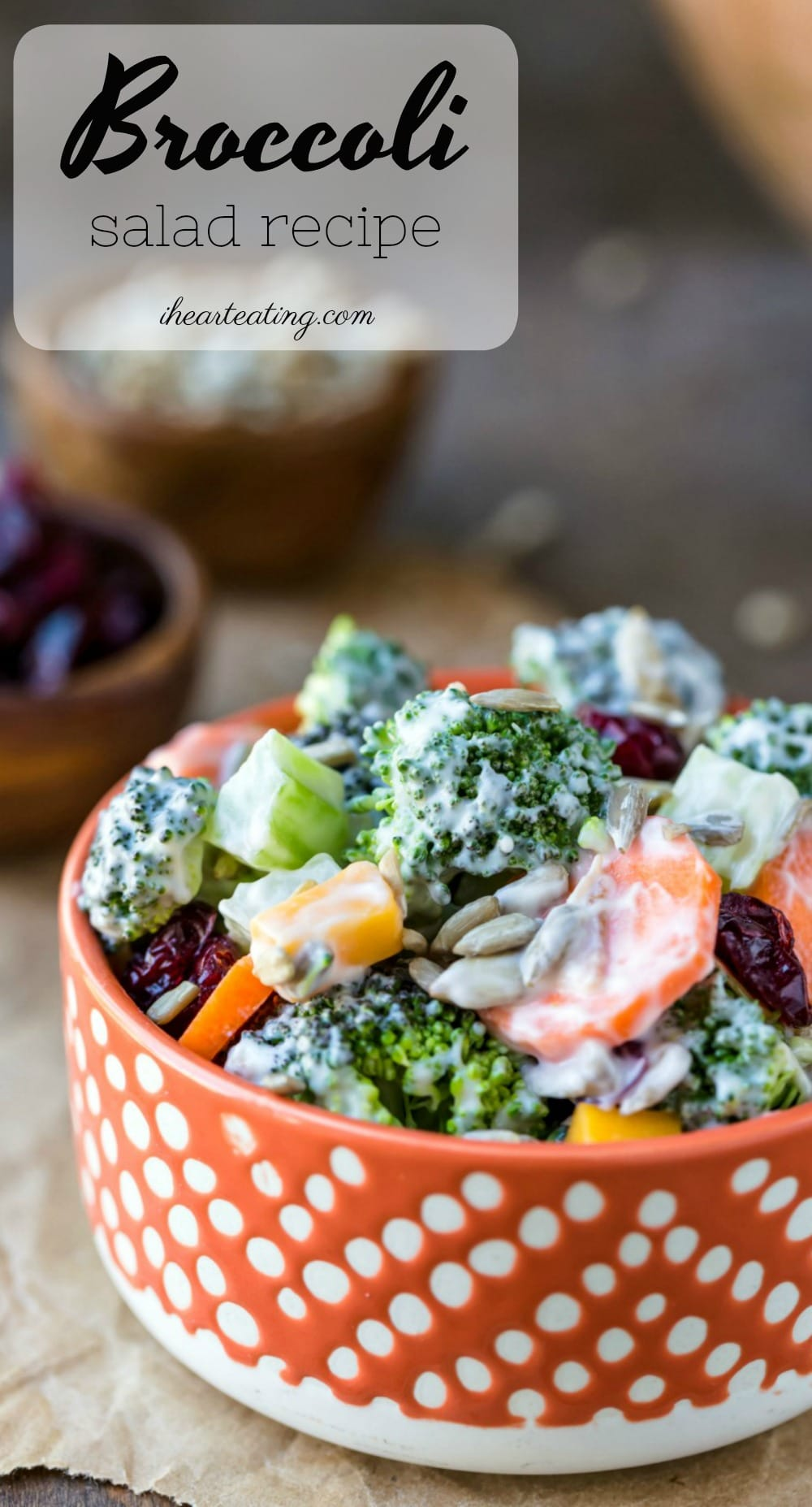 Broccoli Salad recipe is an easy, healthy side dish or light lunch or dinner that's made with broccoli, dried cranberries, bacon, and lots of other yummy ingredients! Includes directions for homemade broccoli salad dressing. #broccolisalad #salad #sidedish #barbecue #summer #potluck #makeahead #bacon #recipe #ihearteating