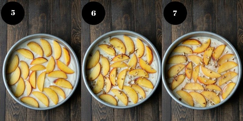 Slices of fresh peach on top of cake batter