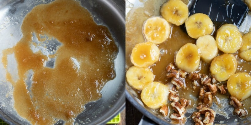 bananas and sugar in pan for caramelized bananas