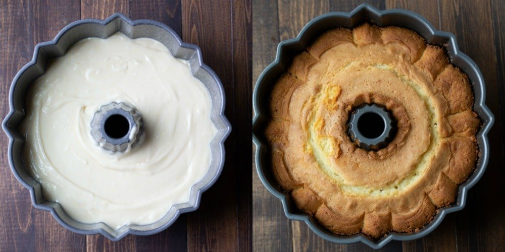 Greek yogurt pound cake batter in a bundt pan