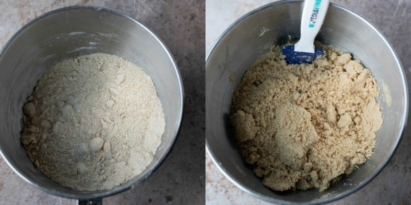 Homemade graham cracker dough in a silver mixing bowl