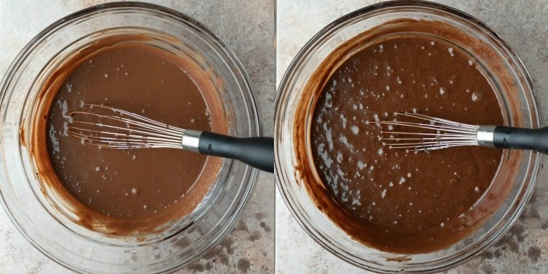 Hot chocolate cake batter in a glass mixing bowl