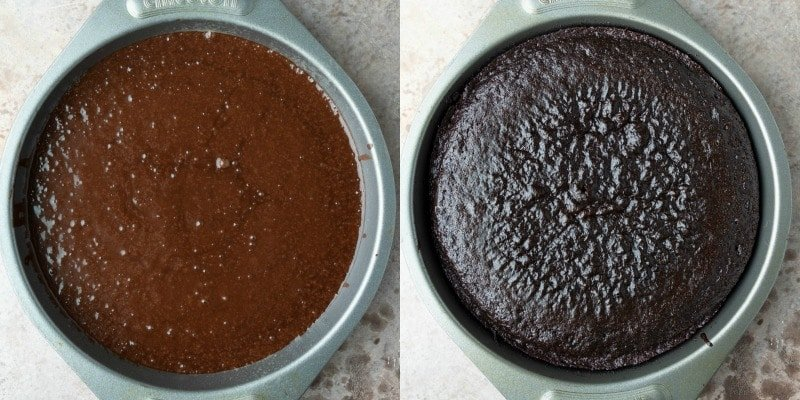 Baked hot chocolate cake in a silver pan