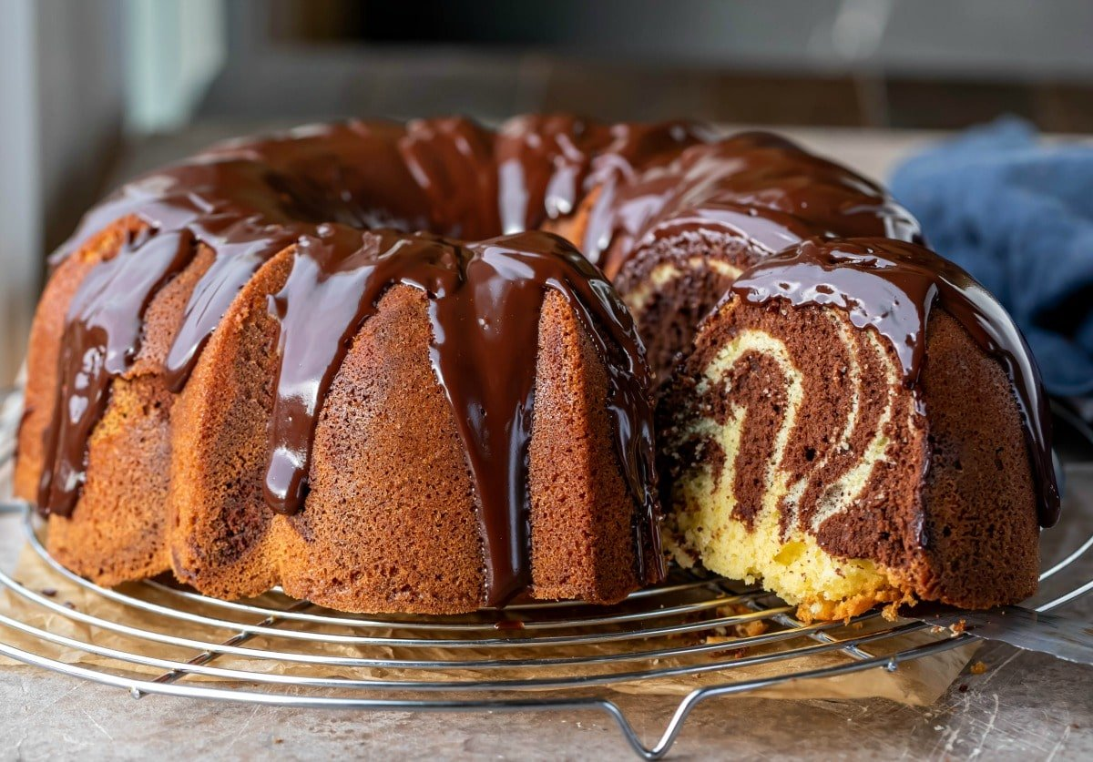 Marble bundt cake on a wire cooling rack