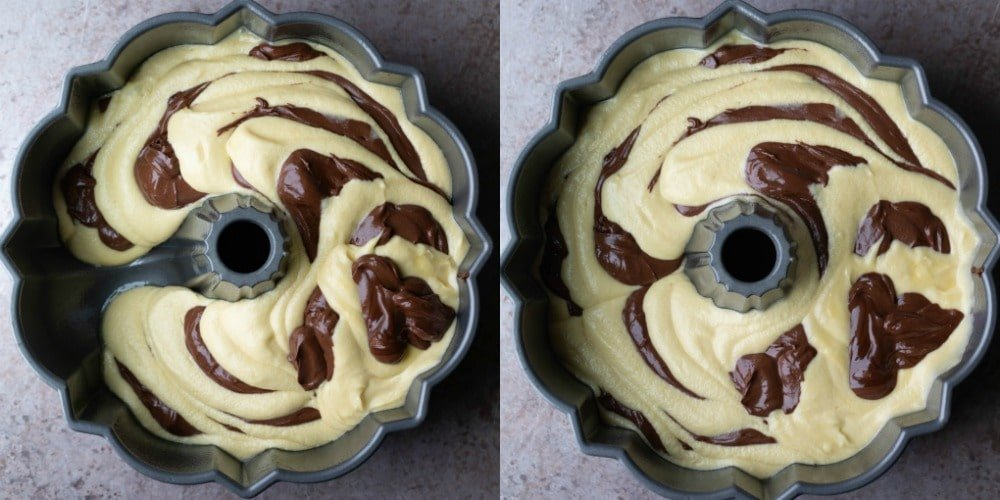 Marble cake batter in a silver bundt pan
