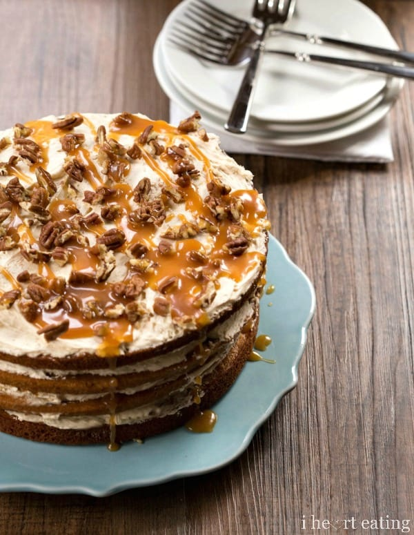 Browned Butter Pumpkin Spice Cake with Salted Caramel Buttercream Frosting | I Heart Eating
