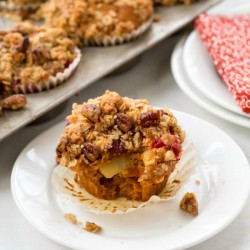 Pumpkin Apple Cranberry Crumble Muffins