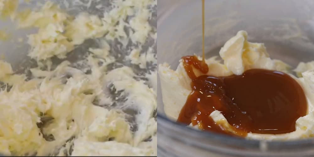 Caramel sauce pouring onto beaten butter.