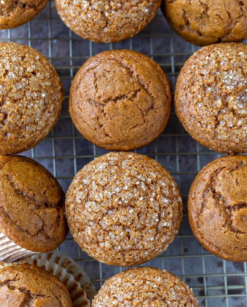 Gingerbread muffins topped with coarse sugar
