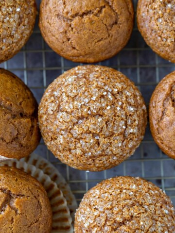 Gingerbread muffins on a wire cooling rack
